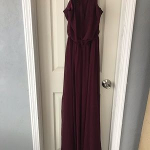 Chiffon Gown, wine, size 8 by #Levkoff